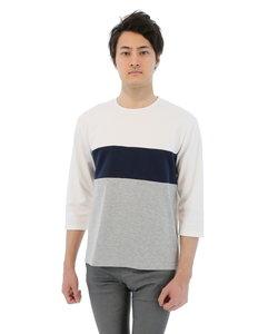 ヨコ切替えカッティング7分袖Tシャツ