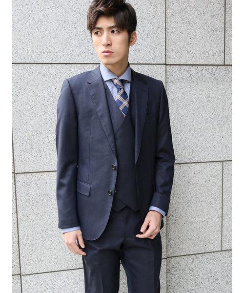 ストレッチ光沢ピンストライプ柄紺 3ピーススーツ スリムフィット