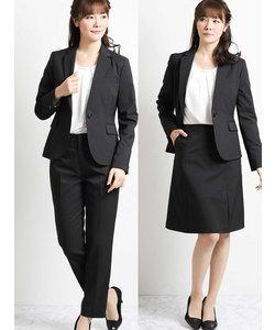 ストレッチ3ピーススーツ(1釦ジャケット+テーパードパンツ+フレアスカート)黒ストライプ