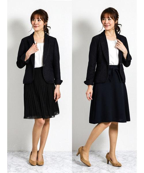 ツイード3ピーススーツ(1釦ジャケット+フレアースカート+プリーツスカート)紺