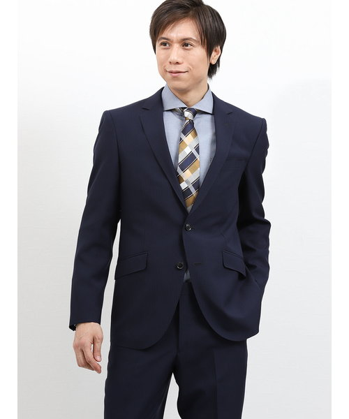 ストレッチ洗えるスラックス シャドーストライプ紺 2ピーススーツ レギュラーフィット