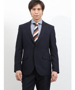 ストレッチ洗えるスラックス ストライプ紺 2ピーススーツ レギュラーフィット