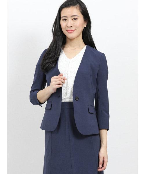 エバレット/EVARET2ピーススーツ(ノーカラー1釦7分袖ジャケット+Aラインスカート)紺