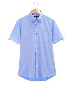 Biz 鹿の子2枚衿ボタンダウン半袖カットシャツ/ビズポロ/クールビズ