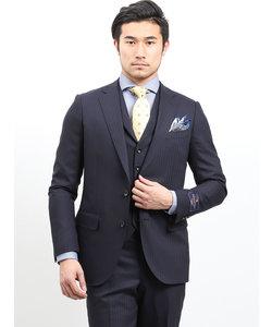 ウール100% SUPER140'S シャドーストライプ柄紺 3ピーススーツ レギュラーフィット