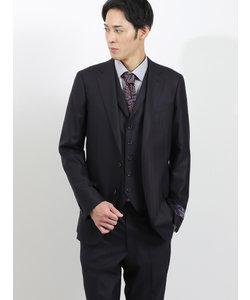 ウール100% SUPER140'S スリムフィット3ピーススーツ ヘリンボン紺