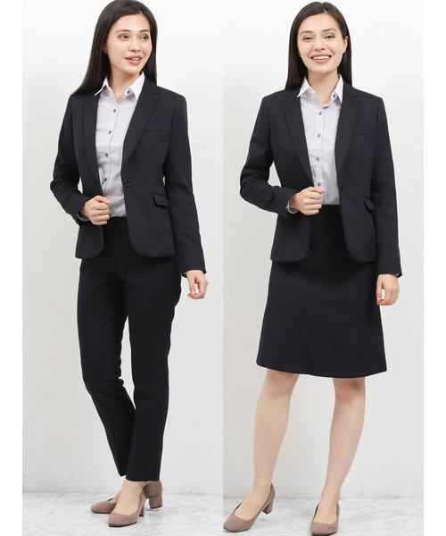 高機能ポリエステル3ピーススーツ(1釦ジャケット+フレアスカート+テーパードパンツ)ヘリンボン紺