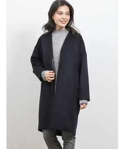 ウール混ビーバー 立衿Vカラーコート