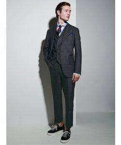 ウール100% SUPER140'S スリムフィット3釦3ピーススーツ デニム調 紺