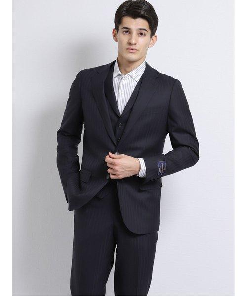 ウール100% SUPER140'S スリムフィット3釦3ピーススーツ シャドー紺