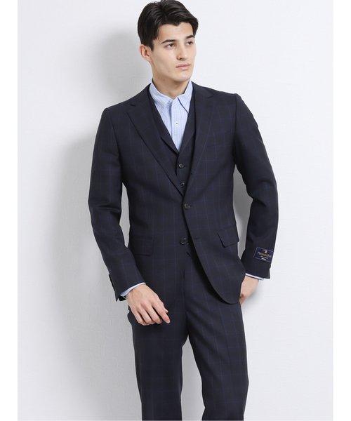 ウール100% SUPER140'S スリムフィット3釦3ピーススーツ ウィンドペン紺