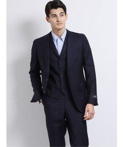 マルゾット/MARZOTTO ウールスリムフィット3釦3ピーススーツ チェック紺