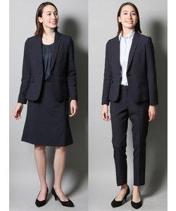 高機能ポリエステル 1釦ジャケット+スカート+パンツ 紺ストライプ