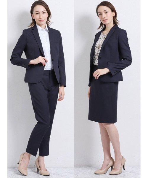 高機能ポリエステル3ピーススーツ(1釦ジャケット+セミフレアスカート+テーパードパンツ)紺カルゼ