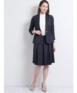 ストレッチウォッシャブル2ピーススーツ(1釦7分袖ジャケット+フレアスカート)紺