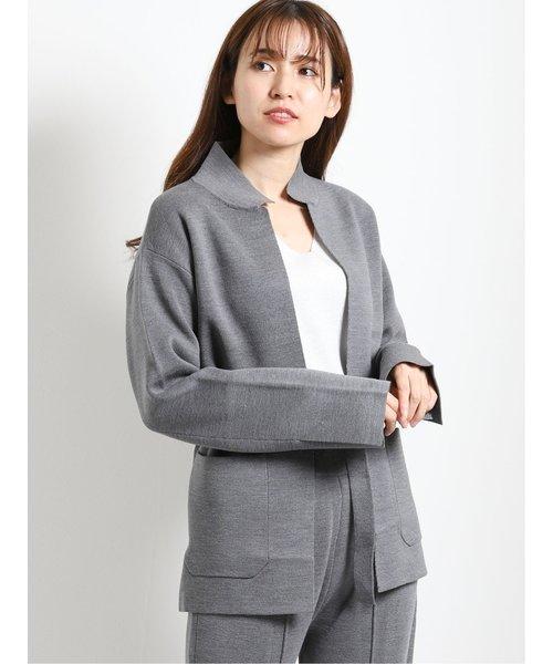 ウール混ミラノリブ編み ニットジャケット