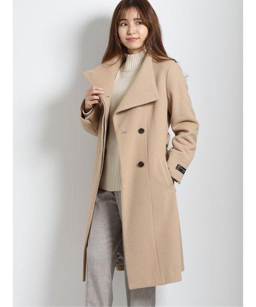 ウール混ビーバー 変形衿ロングコート