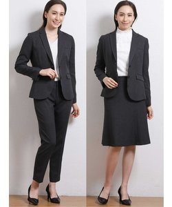 高機能ポリエステル 2ボタンジャケット+スカート+パンツ グレーグレンチェック