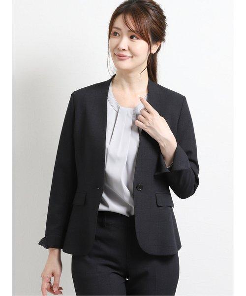 高機能ポリエステル  Vカラージャケット+スカート+パンツ 紺ウィンドペン