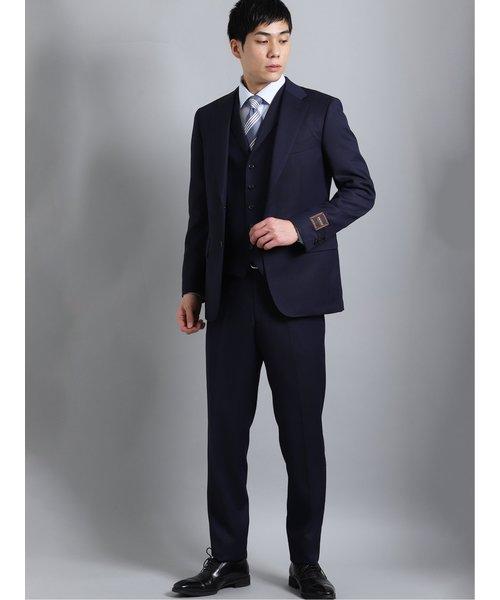 ドラゴ/DRAGO ウール レギュラーフィット2ボタン3ピーススーツ 紺