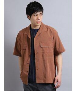 麻調ストレッチ セットアップ 開襟半袖BIGシャツ