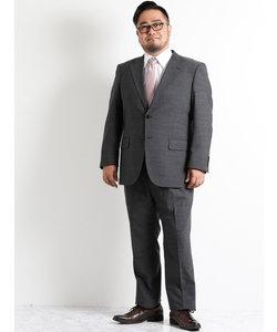 【大きいサイズのメンズ服・グランバック】グレーピンヘッド1タック2ピースビジネススーツ