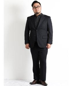 【大きいサイズのメンズ服・グランバック】ストレッチジャージ黒シャドーノータック2パンツビジネススーツ