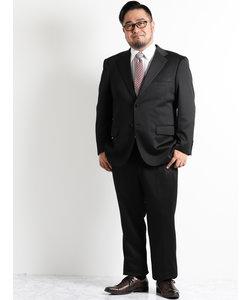 【大きいサイズのメンズ服・グランバック】ストレッチジャージ黒ストライプノータック2パンツビジネススーツ