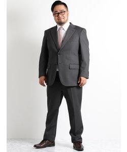 【大きいサイズのメンズ服・グランバック】ストレッチジャージグレー無地ノータック2パンツビジネススーツ