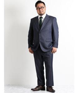 【大きいサイズのメンズ服・グランバック】ストレッチジャージ紺ストライプノータック2パンツビジネススーツ