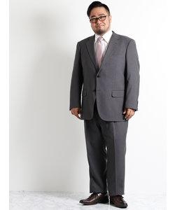 【大きいサイズのメンズ服・グランバック】トラベストグレー地模様1タック2パンツビジネススーツ