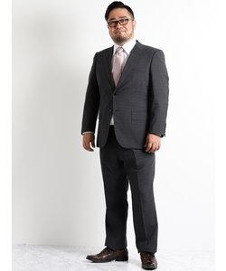 【大きいサイズのメンズ服・グランバック】グレーグレンチェック1タック2パンツビジネススーツ