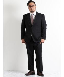 【大きいサイズのメンズ服・グランバック】黒織柄ストライプノータック2パンツビジネススーツ