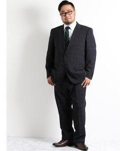【大きいサイズのメンズ服・グランバック】トラベスト黒ウィンドペンノータック2パンツビジネススーツ