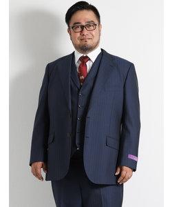 【大きいサイズのメンズ服・グランバック】ALEXANDER JULIAN FINTESS ストライプ紺3ピースビジネススーツ