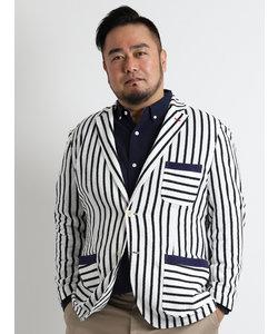 【大きいサイズのメンズ服・グランバック】ブークレーストライプサマージャケット
