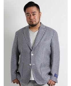 【大きいサイズのメンズ服・グランバック】ANGELICO コットンリネン千鳥サマージャケット