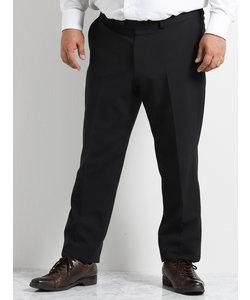 【大きいサイズのメンズ服・グランバック】ウオッシャブルトラベストノータック黒無地ドレスパンツ