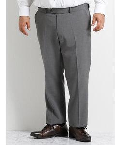 【大きいサイズのメンズ服・グランバック】ウォッシャブルストレッチトラベストノータックグレー無地ビジネスパンツ