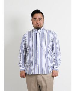 【大きいサイズのメンズ服・グランバック】マルチストライプボタンダウン長袖シャツ