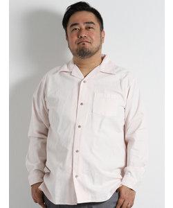 【大きいサイズのメンズ服・グランバック】パナマ無地開襟長袖シャツ
