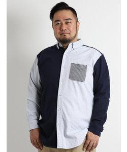 【大きいサイズのメンズ服・グランバック】パナマカットポケットボタンダウン長袖シャツ