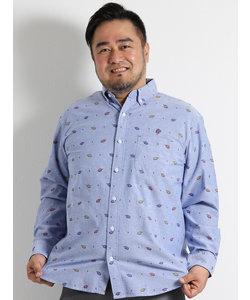 【大きいサイズのメンズ服・グランバック】アイスクリーム総柄ボタンダウン長袖シャツ