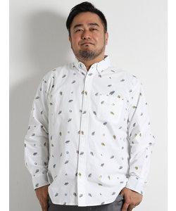 【大きいサイズのメンズ服・グランバック】オックスサンダル総柄ボタンダウン長袖シャツ