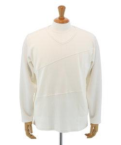【大きいサイズのメンズ服・グランバック】ケーブルジャガード切替Vネック長袖Tシャツ