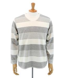 【大きいサイズのメンズ服・グランバック】リップルランダムボーダーVネック長袖Tシャツ