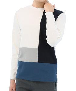 【大きいサイズのメンズ服・グランバック】異素材ギミック切替クルーネック長袖Tシャツ