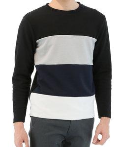 【大きいサイズのメンズ服・グランバック】異素材パネル切替クルーネック長袖Tシャツ