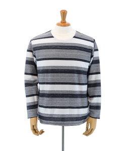 【大きいサイズのメンズ服・グランバック】変形梨地ボーダークルーネック長袖Tシャツ