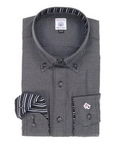 【大きいサイズのメンズ服・グランバック】FATTURA 日本製綿100%袖刺繍ボタンダウンビジネスドレス長袖シャツ